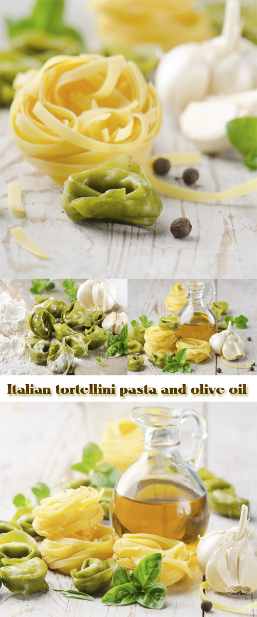 Stock Photo: Italian tortellini pasta and olive oil