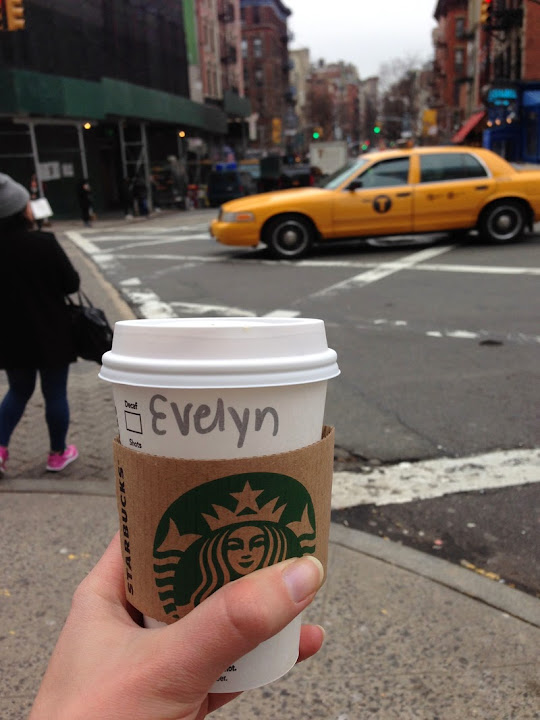 starbucks new york, evelyn yellow cab