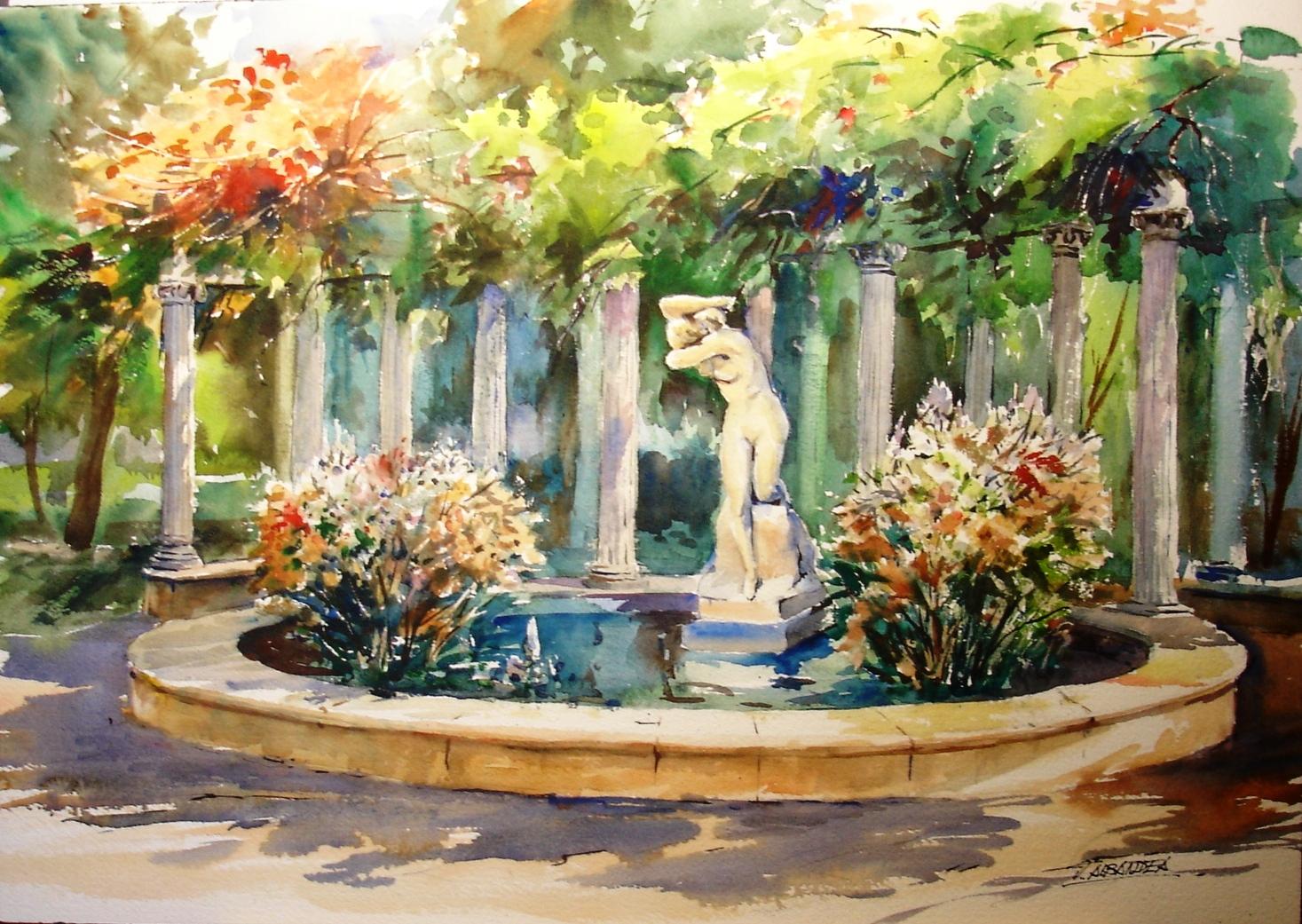 Acuarelas juan albandea jardines for Vivero el estanque