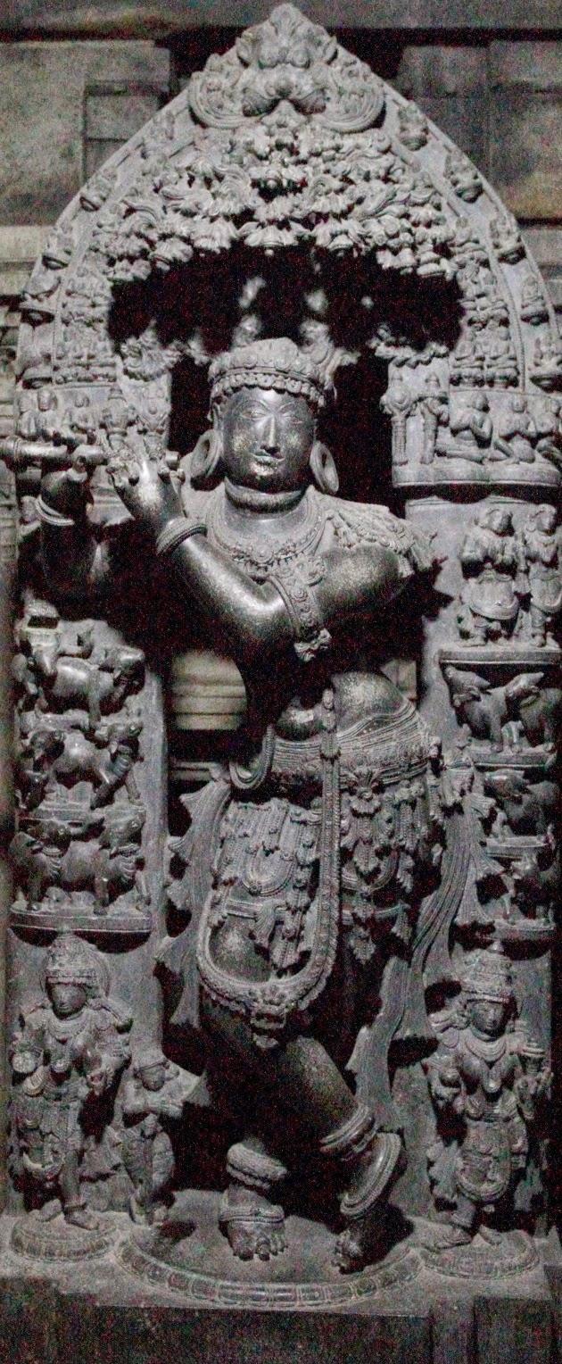 Beautiful sculpture of Venugopala inside the sanctum sanitorium of Somnathpur Keshava Temple