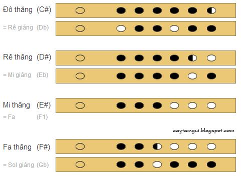 Cách bấm thổi nốt thăng trên sáo trúc 6 lỗ