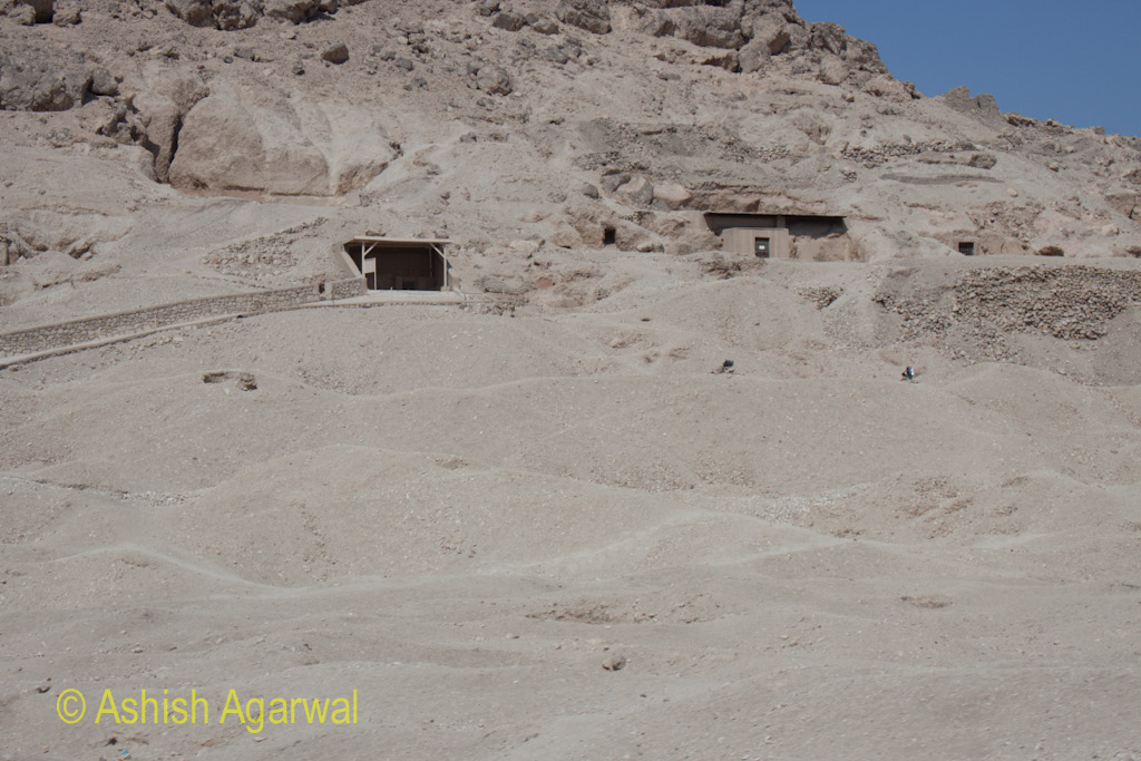 Work happening on some tombs on the limestone cliffs near the Valley of the Kings, outside Luxor