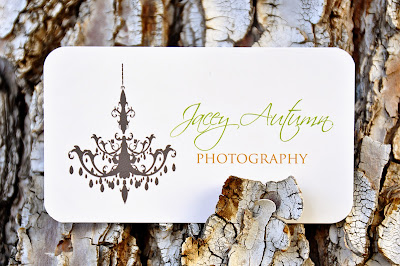 front of jacey autumn photography business cards against tree bark, printed by GotPrint
