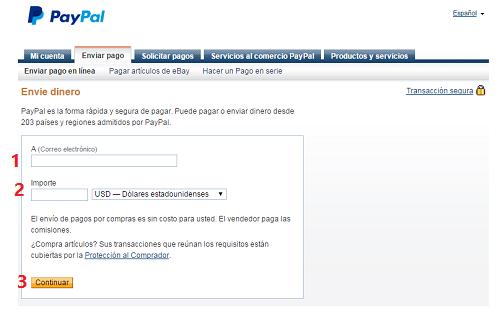 Cómo enviar dinero a otro usuario en Paypal
