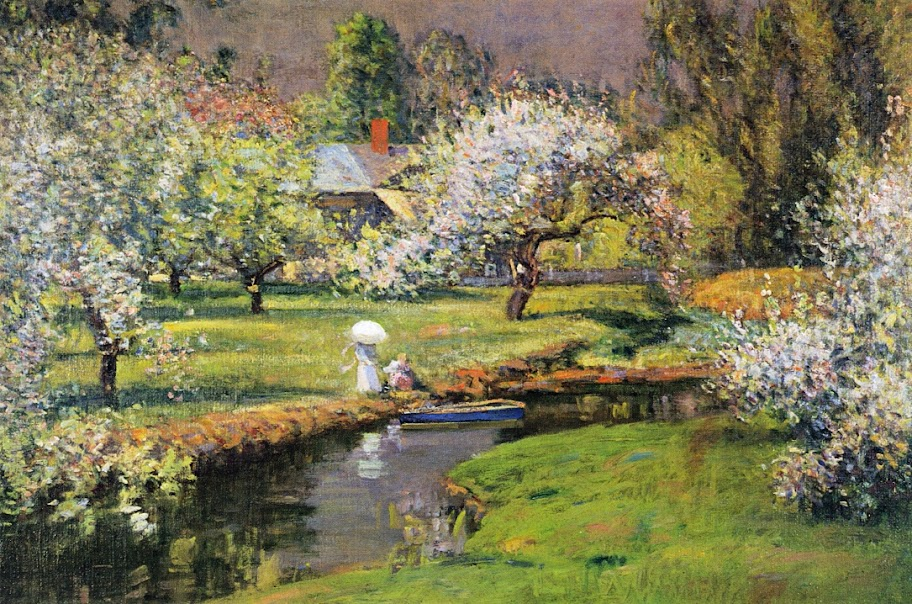 Theodore Wendel – Lady with Parasol by Stream