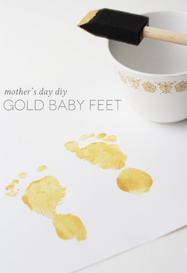 gold baby feet diy 1