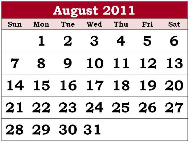 calendars 2011 august. Printable Calendar August 2011