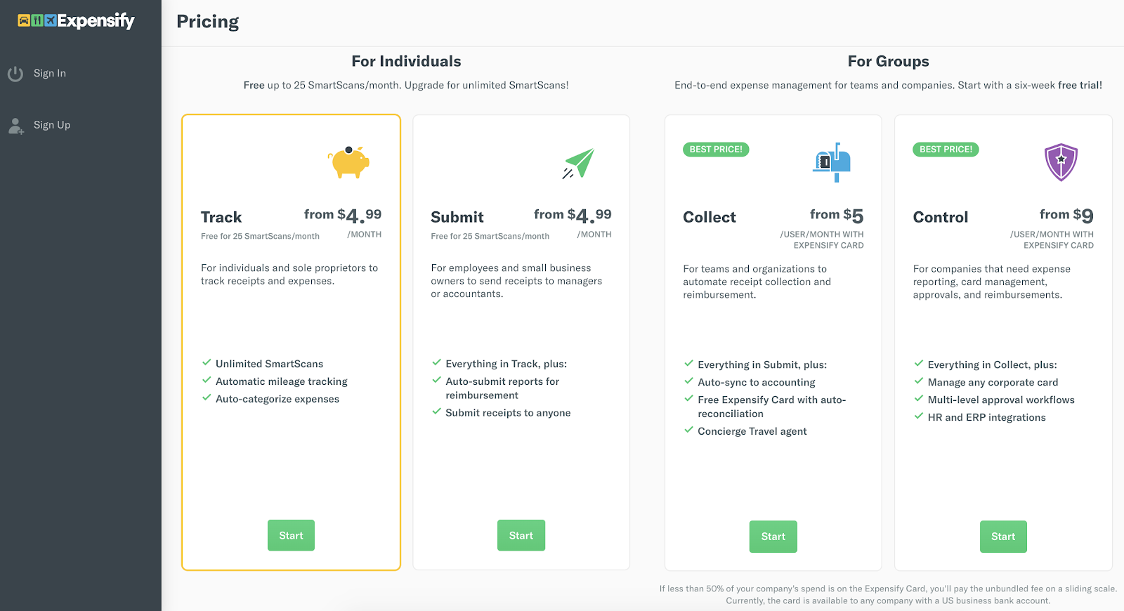 Expensify pricing page.