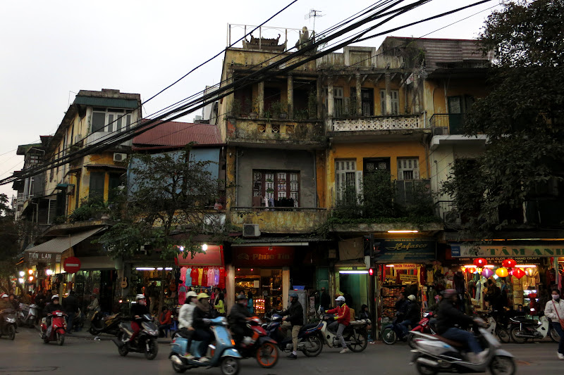 Busy street corner, northwest edge of Old Quarter