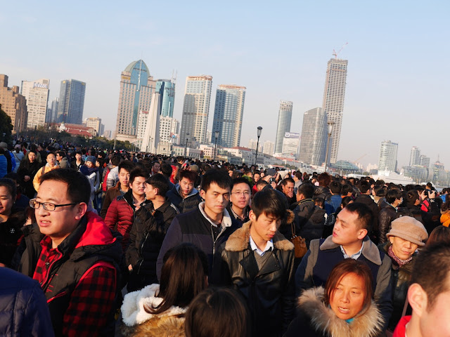 crowd at the Bund in Shanghai on New Year's day