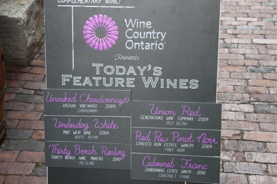 The wine menu at the Wine Country of Ontario booth.