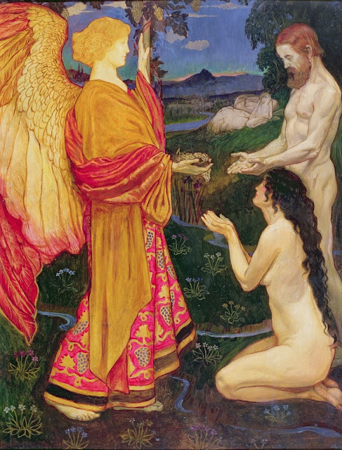 Byam Shaw - The angel offering the fruits of the Garden of Eden to Adam and Eve