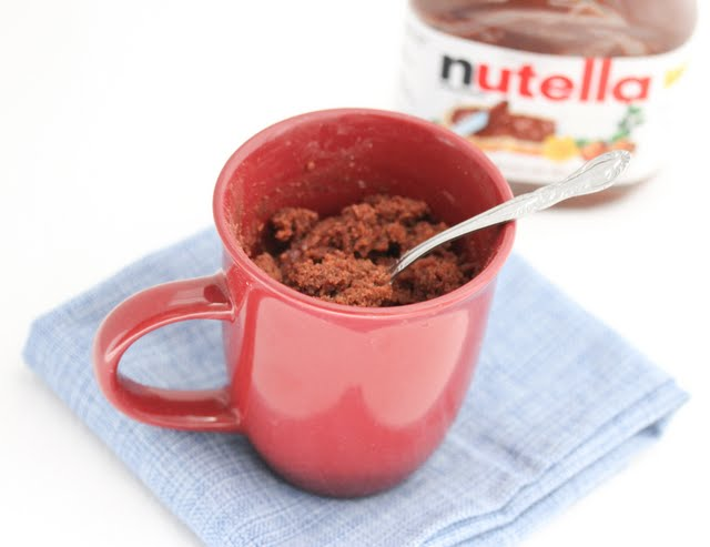overhead photo of a Nutella Mug Cake