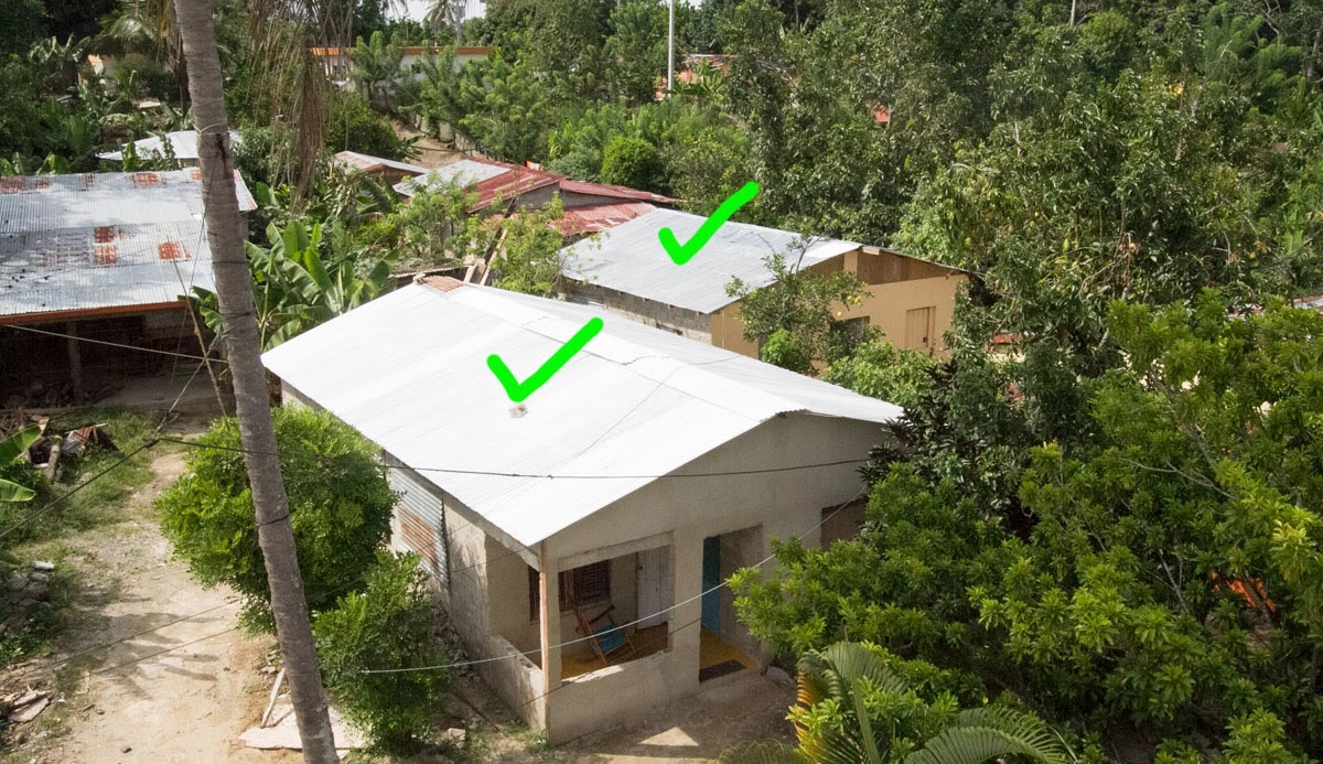 The Green Check Marks Show Two Houses That Our Team Worked On In June 2013 This Photograph Was Taken October While Standing Roof Of