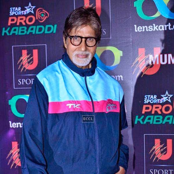 Amitabh Bachchan during the opening match of Pro-Kabbadi League, held in Mumbai, on July 26, 2014. (Pic: Viral Bhayani) <br />