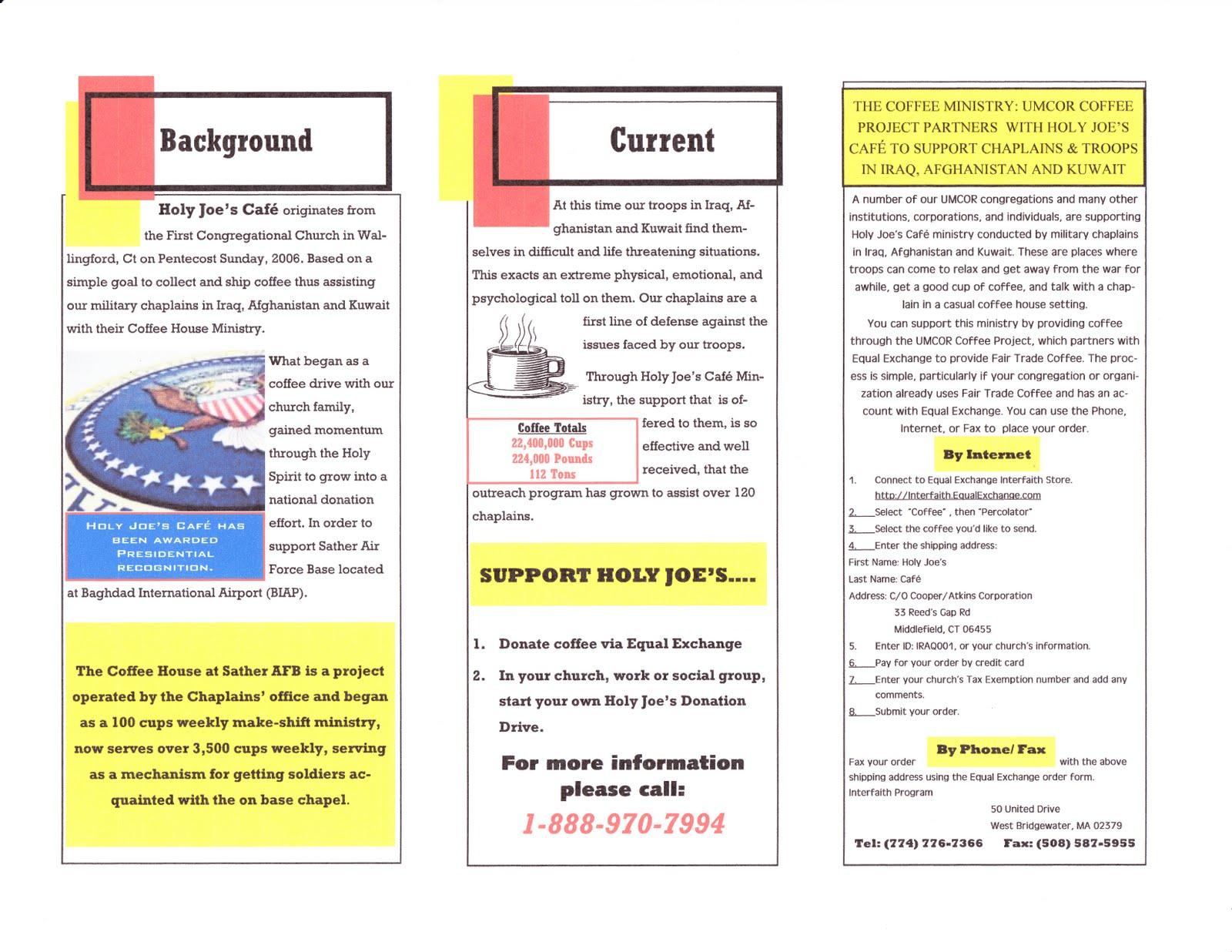 Holy Joe S Cafe Brochure For United Methodist Church S