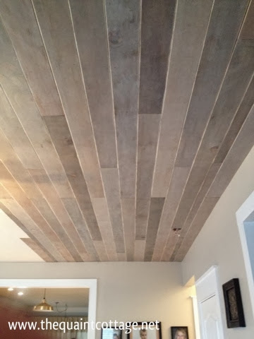 The quaint cottage diy faux rustic plank ceiling for Faux wood ceiling planks