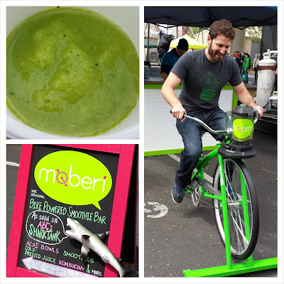 Eat Mobile 2014 = Moberi also provided a healthy option with their bicycle powered kale coconut water mango pineapple mint smoothies