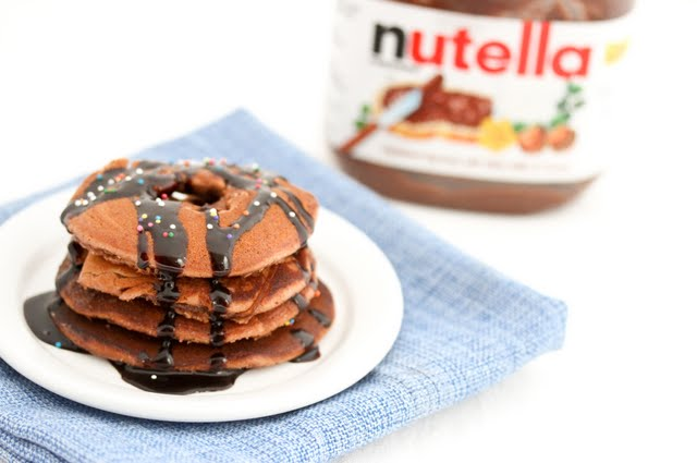 close-up photo of a plate of Nutella Donut Pancakes