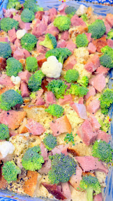 Ham and Cheese and Broccoli and Cauliflower Egg Casserole