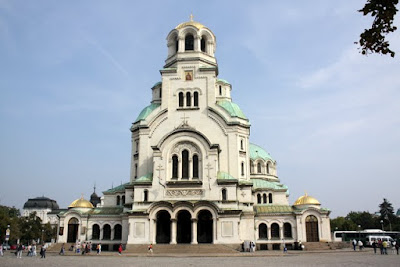 The facade of the Alexander Nevsky Cathedral in Sofia Bulgaria
