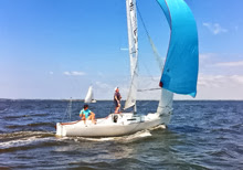 J/22 one-design sailboat- sailing 18 hours of Arcachon Race