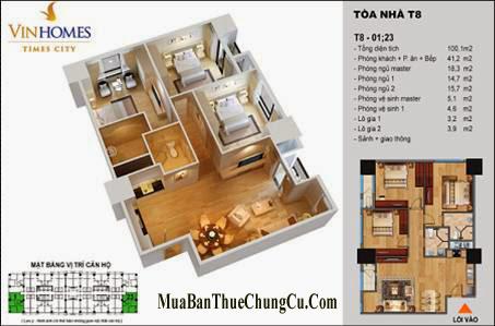 Bán chung cư Times City T8 T9 T11 căn 03 phòng ngủ