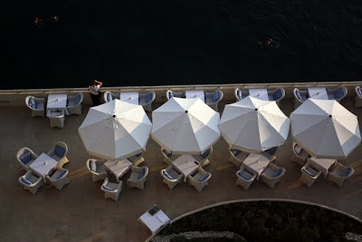 Beach umbrellas at Hotel Excelsior in Dubrovnik Croatia