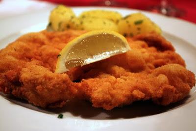 Schnitzel for dinner at a restaurant in Salzburg Austria
