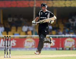 Martin Guptill was taking a single as he shared New Zealand's big opening stand with his partner, New Zealand v Zimbabwe, Group A, World Cup 2011, Motera, March 4, 2011