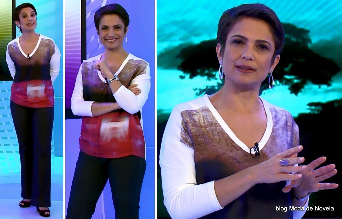moda do programa Globo Ação - look da Sandra Annenberg dia 3 de maio