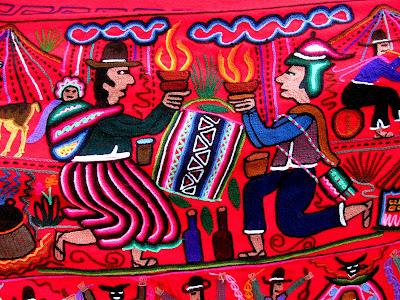 Textiles at a market in Machu Picchu Peru