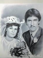 """Портрет черно-белый, выполнен маслом по бумаге в технике """"сухая кисть"""" по белой бумаге, размер 50Х60 см"""