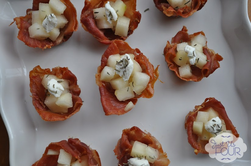 Prosciutto Cups with Pear and Goat Cheese - Just Us Four