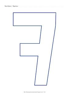 Dibujo para colorear y pintar el número siete en color azul