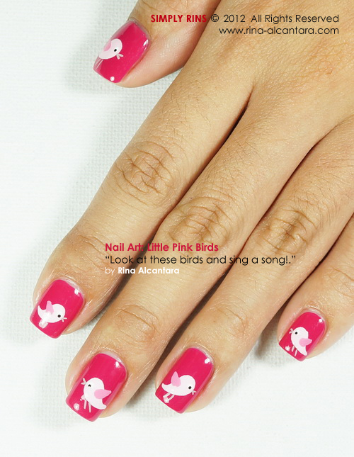 Little Pink Birds Nail Art Design