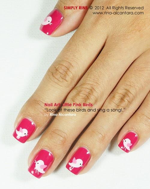 Nail art little pink birds simply rins for 3 little birds salon