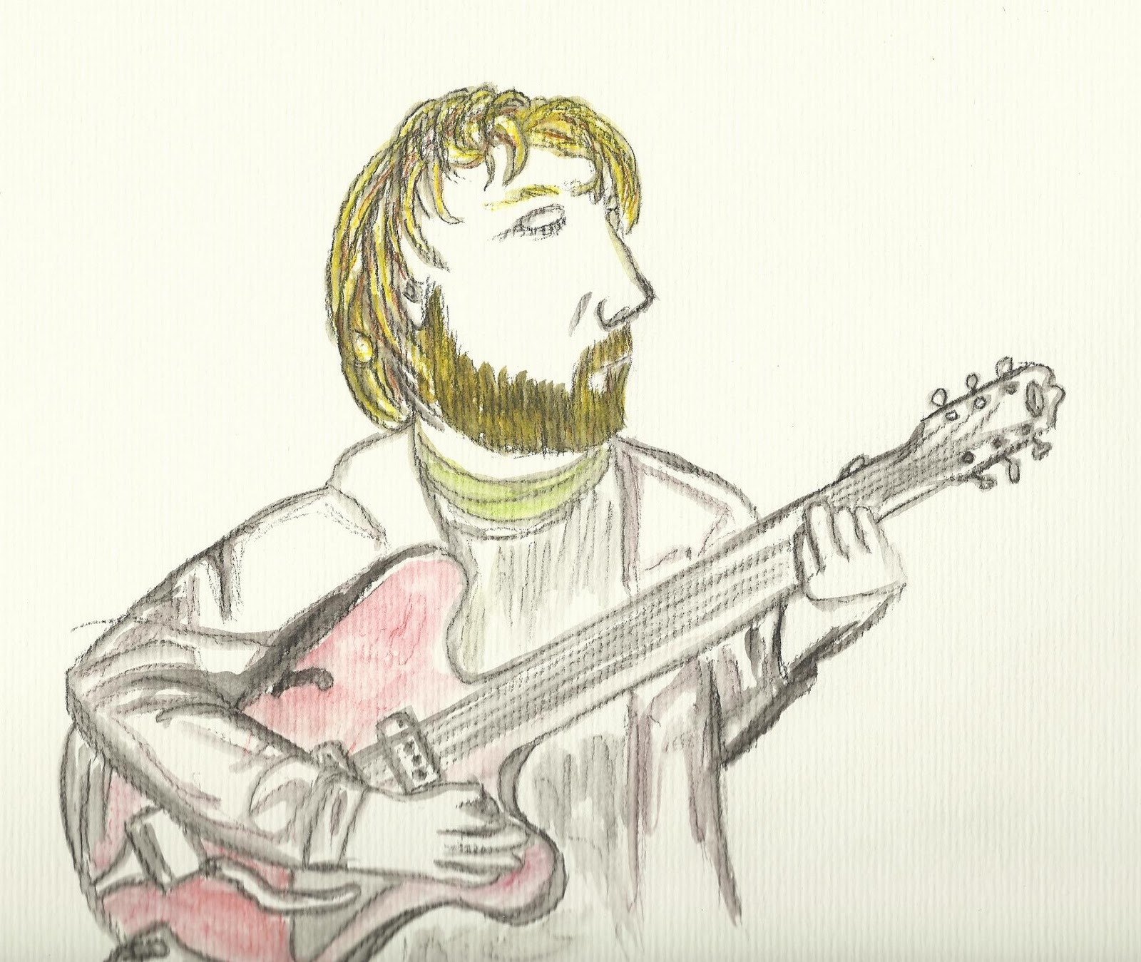 Drawing Greg playing guitar