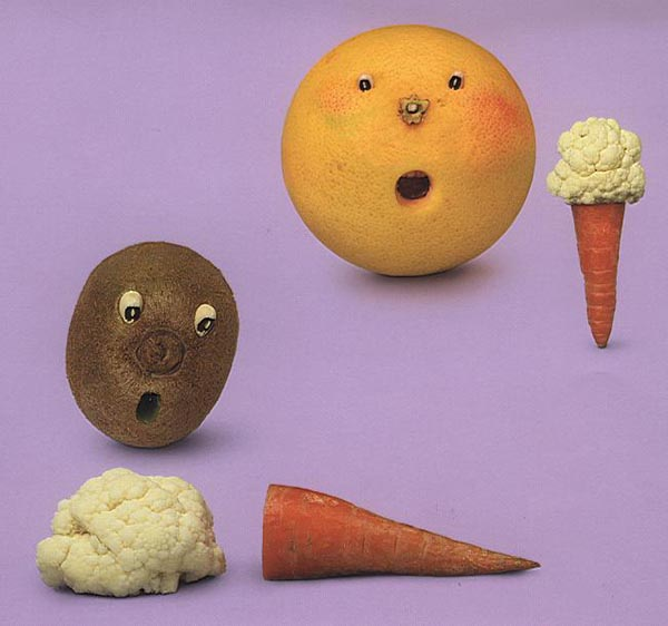 Food Art - Orange, Cauliflower, Carrot and Kiwi Fruit