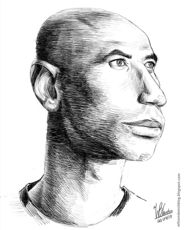 Sketch caricature of Luisão, using Krita.