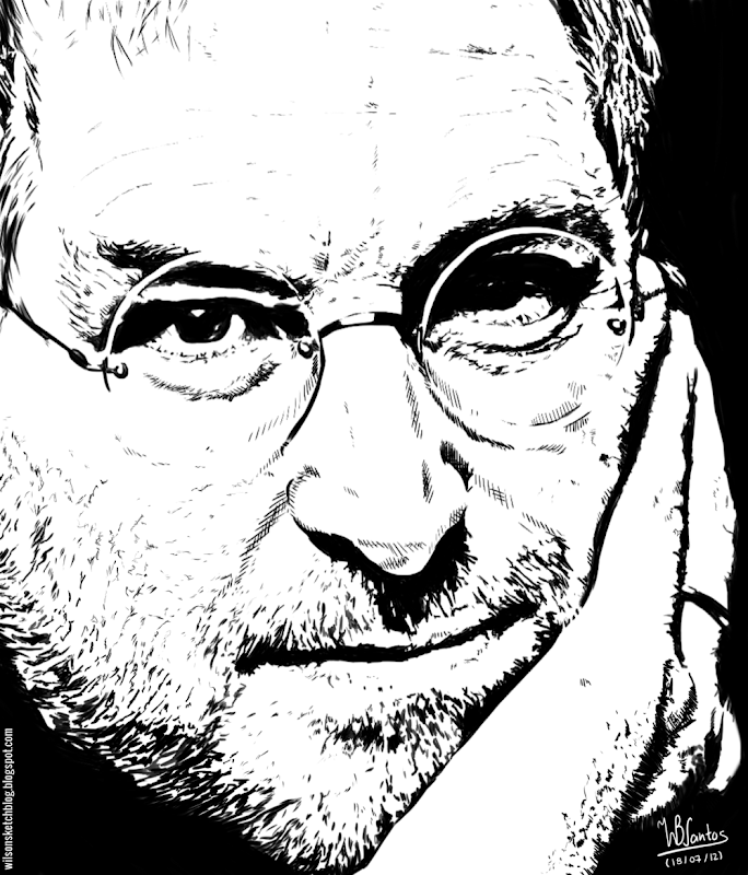 Ink drawing of Steve Jobs, using Krita 2.4.