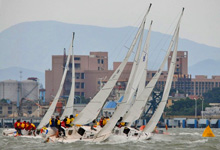 J/80 one-design sailboat- fleet racing off Xiamen, China