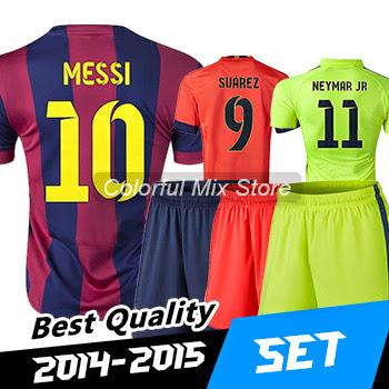 Free Shipping SPAIN Football Kits 2015 MESSI SUAREZ NEY