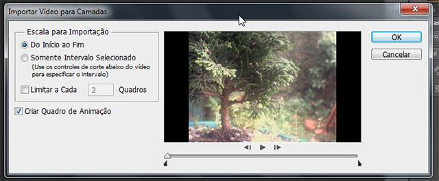 Janela de importar vídeo para camadas
