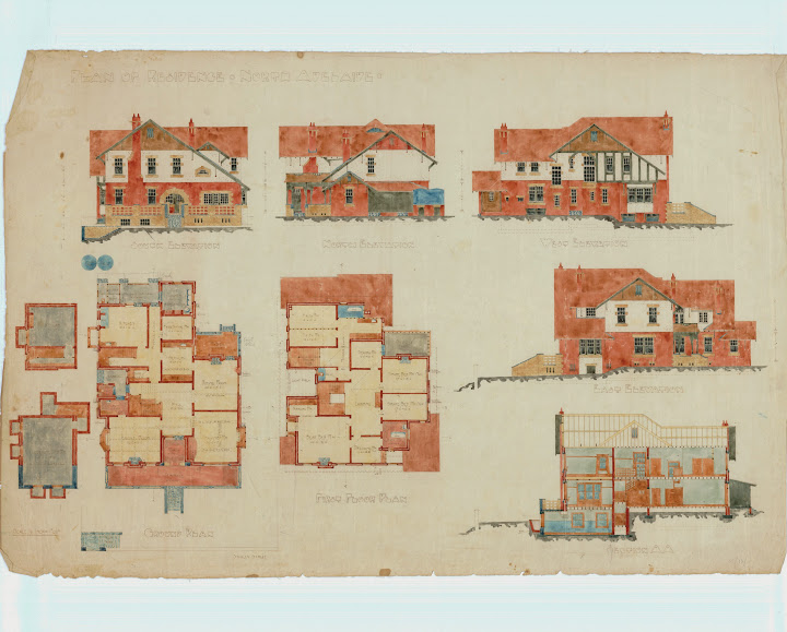 Elevations and plans for the Turner house, 260 Stanley Street, North Adelaide