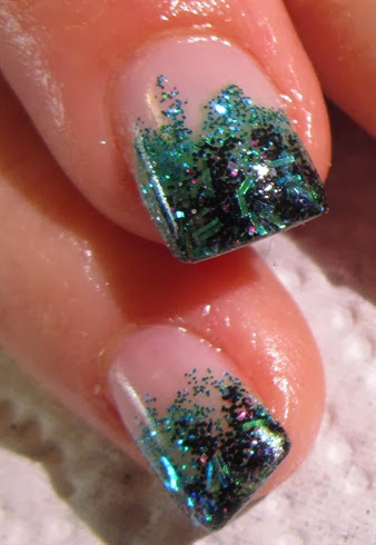 Green and Black Glitter Gels Close up