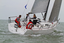 J/111 sailing upwind - off Cowes, IOW, England