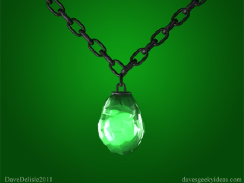 kryptonite from superman made as a green jewelry necklace
