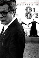 "Poster with Marcello Mastroianni of Fellini's movie ""8 1/2"" on writer's block"