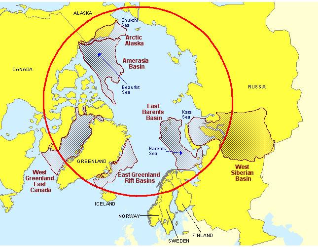 Figure 1.   Resource Basins in the Arctic Circle Region